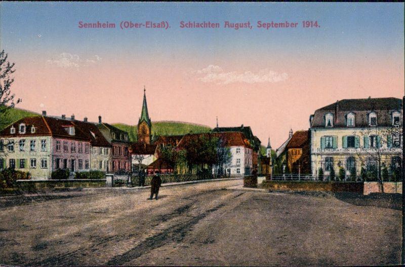 Sennheim Cernay (Haut-Rhin) Schlachten August - Blick von der Straße 1914