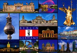 Berlin Fernsehturm, Brandenburger Tor, Parlament, Dom, Spree, Hochhäuser 2000