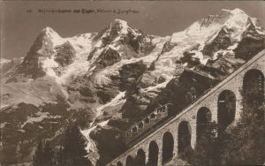 Ansichtskarte Grindelwald Mürrenbahn mit Eiger, Mönch und Jungfrau 1914
