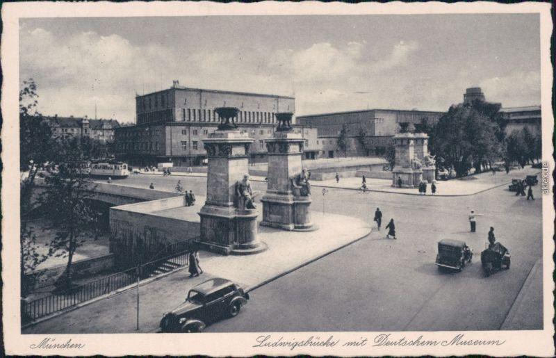 Ansichtskarte München Ludwig-Ferdinand-Brücke mit Deutsches Museum 1938
