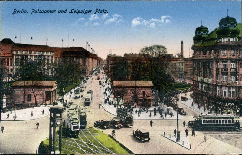Ansichtskarte Berlin Verkehr - Potsdamer Platz und Leipziger Platz 1914