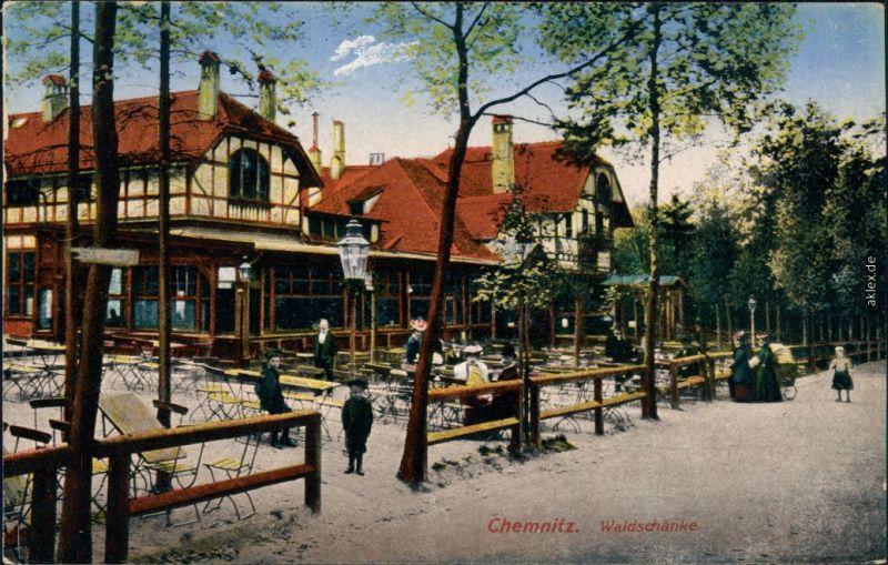Ansichtskarte Chemnitz Karl-Marx-Stadt Partie an der Waldschänke 1914