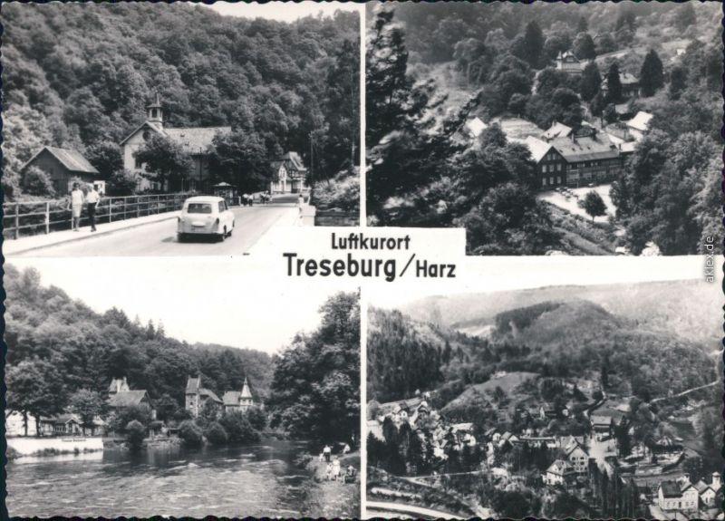 Ansichtskarte Treseburg Panorama-Ansichten, Bodebrücke 1972