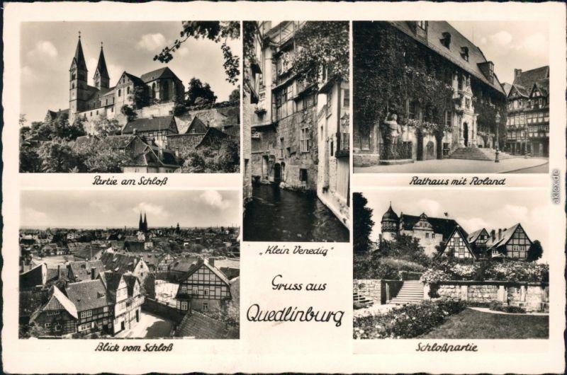 Quedlinburg Schloss, Rathaus mit Roland, Panorama-Ansicht,