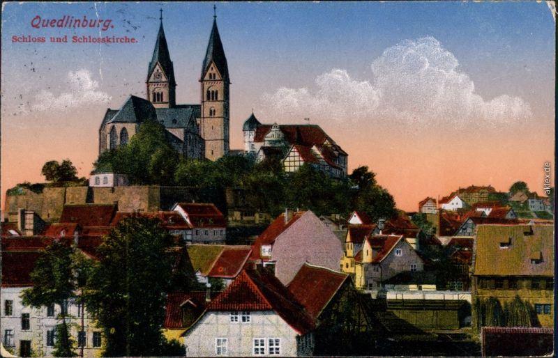Ansichtskarte Quedlinburg Blick über die Dächer der Stadt zum Schloß 1913