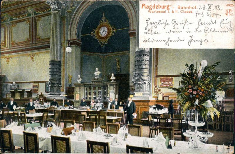 Ansichtskarte Altstadt-Magdeburg Hauptbahnhof: Wartesaal I. & II. Klasse 1903
