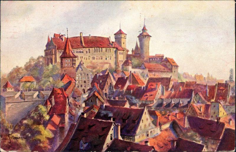 Ansichtskarte Nürnberg Blick auf die Burg - Süden - Künstlerkarte 1912