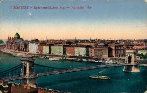 Ansichtskarte Budapest Stadt und Kettenbrücke - Dampfer 1916