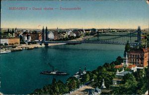 Ansichtskarte Budapest Blick über die Stadt mit Kettenbrücke 1916