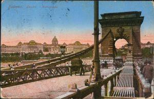 Ansichtskarte Budapest Stadt - Kurtschen auf der Kettenbrücke 1916
