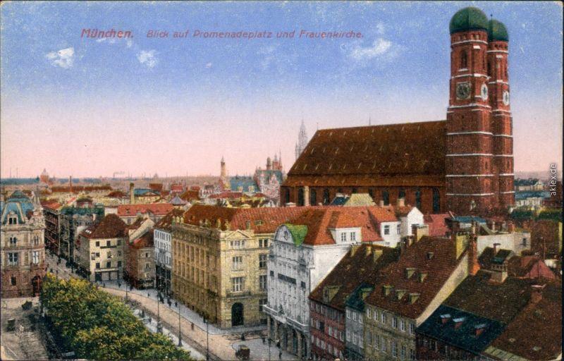 Ansichtskarte München Promenadenplatz, Frauenkirche 1922