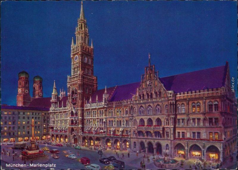 Ansichtskarte München Rathaus mit Frauenkirche 1968