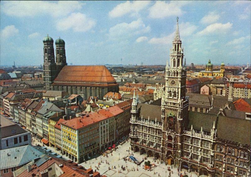 Ansichtskarte München Frauenkirche und Rathaus 1990