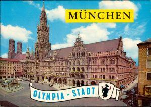 Ansichtskarte München Rathaus, Marienplatz 1980