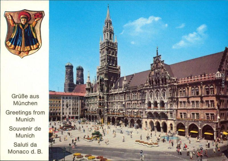 Ansichtskarte München Marienplatz mit Rathaus und Frauenkirche x 1980