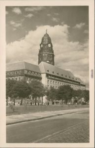 Ansichtskarte Innere Altstadt-Dresden Neues Rathaus 1955