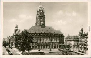 Ansichtskarte Innere Altstadt-Dresden Neues Rathaus 1952