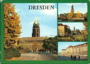 Ansichtskarte Innere Altstadt-Dresden Neues Rathaus und Altmarkt g1981