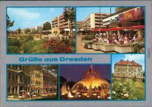 Neustadt Dresden V den Neustädter Markt mit Straßen Partie und Brunnen g1990