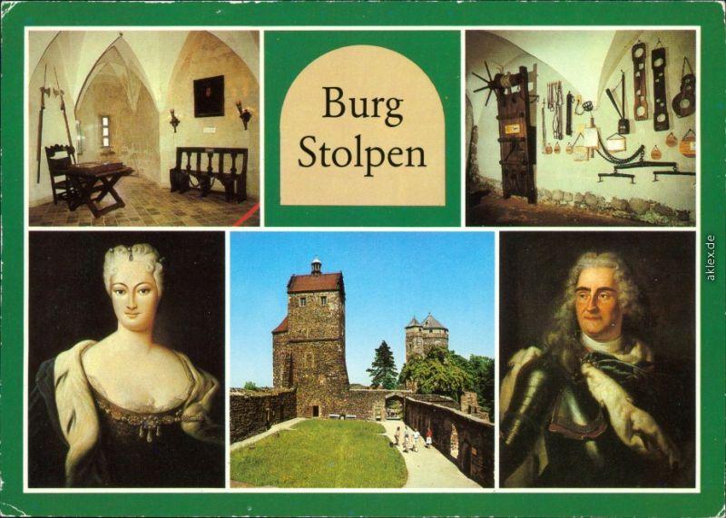 Stolpen Burg  Gemälde von der GRäfin A. Constantia und Friedrich August I 1986