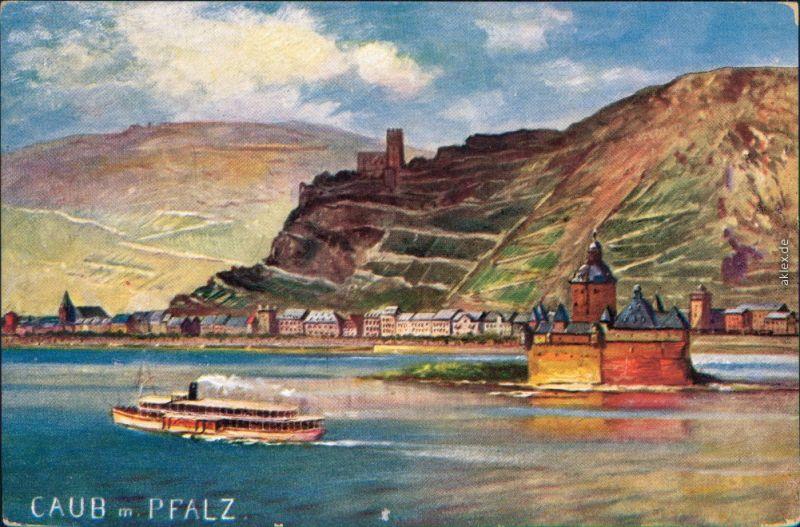 Ansichtskarte Kaub Burg Pfalzgrafenstein mit Dampfer - Zeichnung 1929