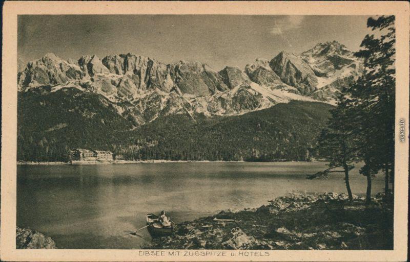 Ansichtskarte Garmisch-Partenkirchen Eibsee mit Zugspitze u. Hotels 1925