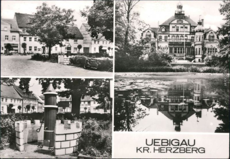Uebigau Wahrenbrück Marktplatz, Marktbrunnen, Im Schloßpark g1983