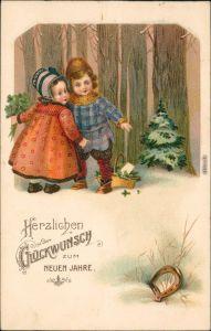 Glückwunsch - Neujahr/Sylvester - Kinder mit Hufeisen 1913 Prägekarte