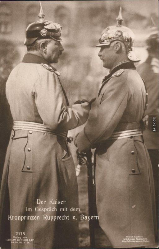 1. Weltkrieg: Der Kaiser im Gespräch mit Kronprinz Rupprecht v. Bayern 1915