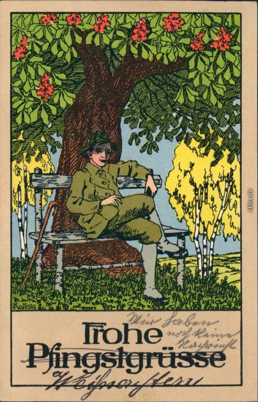 Ansichtskarte  Glückwunsch - Pfingsten Junge auf Bank - Künstlerkarte 1914