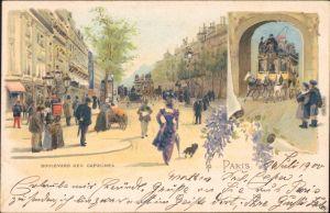 Ansichtskarte Paris Boulevard des Carpucines - Bild Künstlerkarte 1902