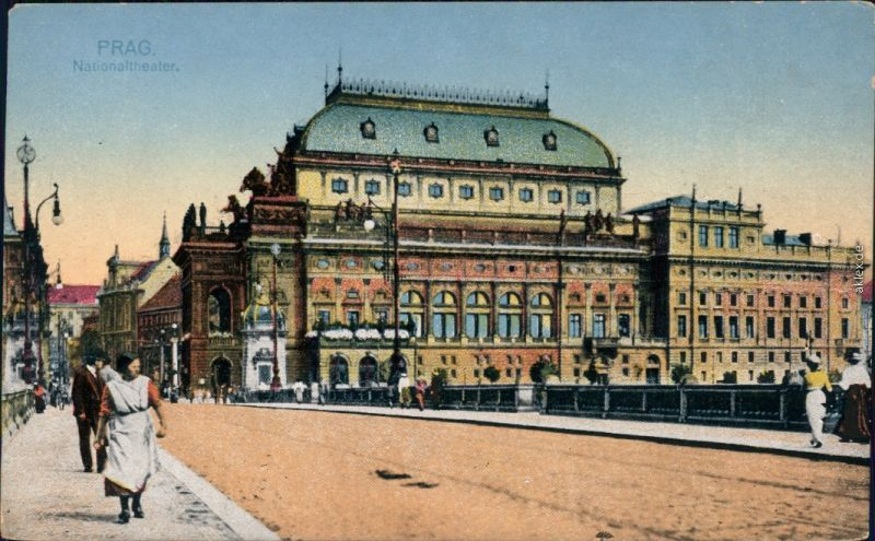 Prag Praha Böhmisches Nationaltheater (Prag/Praha) - Coloriert 1900