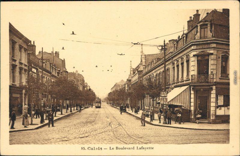 Calais Le Boulevard Lafayette/Straße Lafayette und Straßenbahn 1920