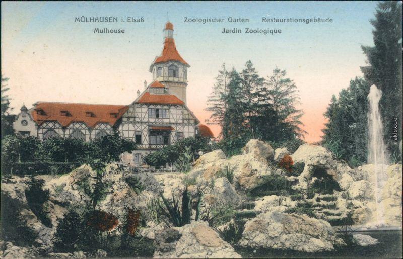 Ansichtskarte Mülhausen Mulhouse Zoologischer Garten -Restauration 1913