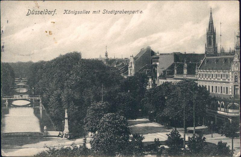 Ansichtskarte Düsseldorf Königsallee mit Stadtgrabenpartie 1906