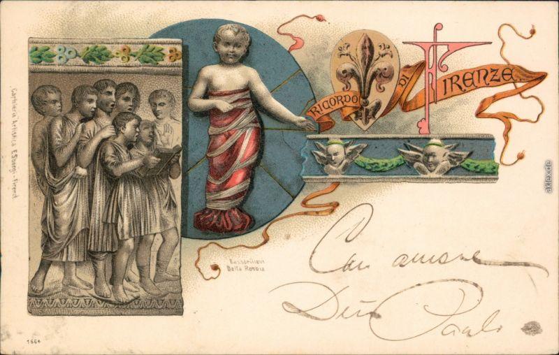 Ansichtskarte Florenz Firenze Reliefs- Litho AK Ricordo 1898