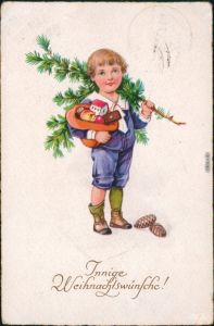 Glückwunsch/Grußkarten: Weihnachten - Kind mit Geschenken 1923