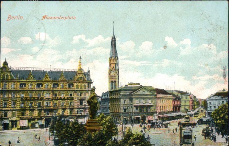 Ansichtskarte Mitte-Berlin Alexanderplatz - Grand Hotel 1907