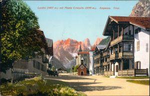 Toblach Dobbiaco Ortsmotiv mit Landro (Höhlenstein) mit Monte Cristallo 1908