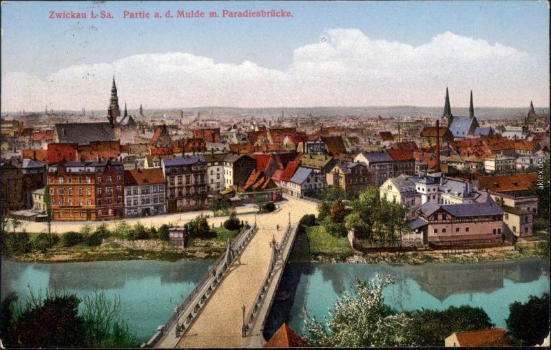 Ansichtskarte Zwickau Stadt und Paradiesbrücke 1926