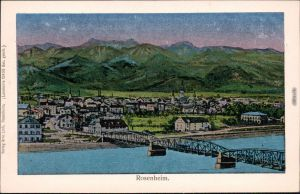 Ansichtskarte Rosenheim Panorama-Ansicht mit Brücke über die Inn 1913 Luna