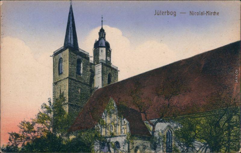 Ansichtskarte Jüterbog Partie an der Nicolai-Kirche, coloriert 1926