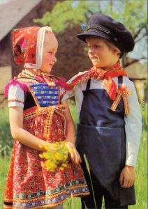 Ansichtskarte Schleife Sorbische Trachten - Kinder aus dem Ort 1980