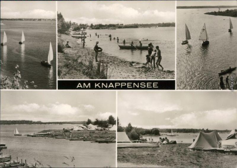 Ansichtskarte Groß Särchen-Lohsa Łaz Segelboote, Strand, Campingplatz 1974