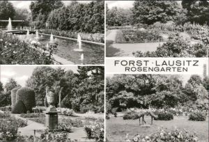 Forst (Lausitz) Baršć Rosengarten - Springbrunnen, Blumen, Plastiken 1981