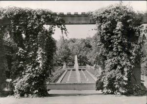 Ansichtskarte Forst (Lausitz) Baršć Rosengarten - Brunnen mit Fontänen 1978