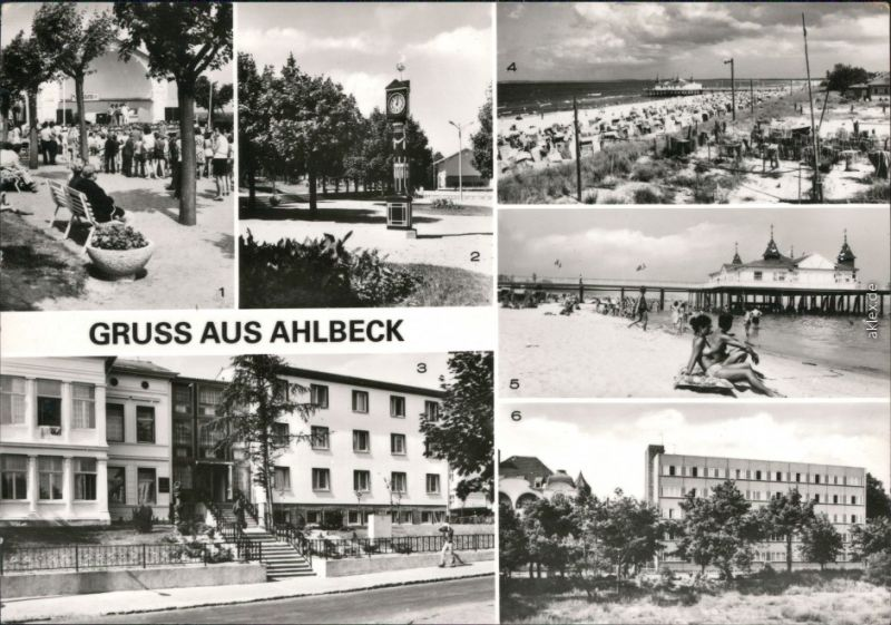 Ahlbeck (Usedom) Konzertpavillon Stranduhr, FDGB-Erholungsheim Ferienglück 1981