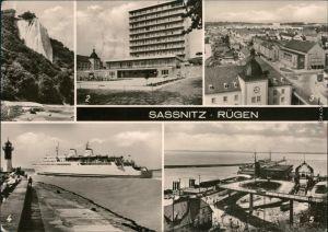 Sassnitz Saßnitz Königsstuhl, Rügen-Hotel,    MS Warnemünde im Fährhafen 1975
