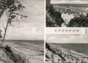 Koserow Strand, Uferbereich, viele Strandkörbe mit Badegästen 1975