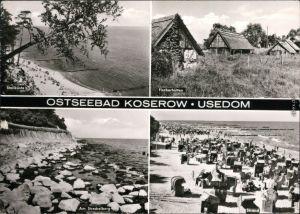 Koserow Strand, Fischerhütten, Uferbereich, viele Strandkörbe 1980